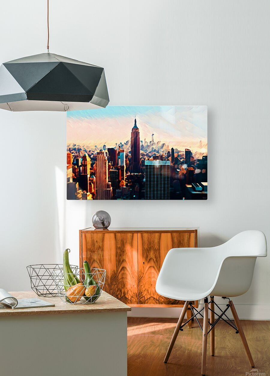 new york city skyline  HD Metal print with Floating Frame on Back