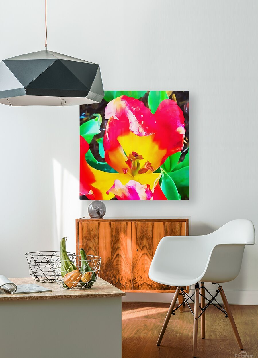 heart flower  HD Metal print with Floating Frame on Back