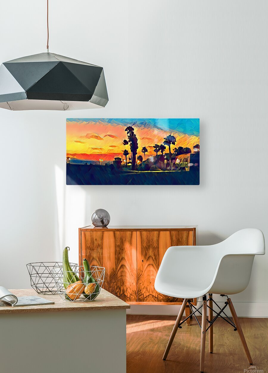 manhattan beach night  HD Metal print with Floating Frame on Back