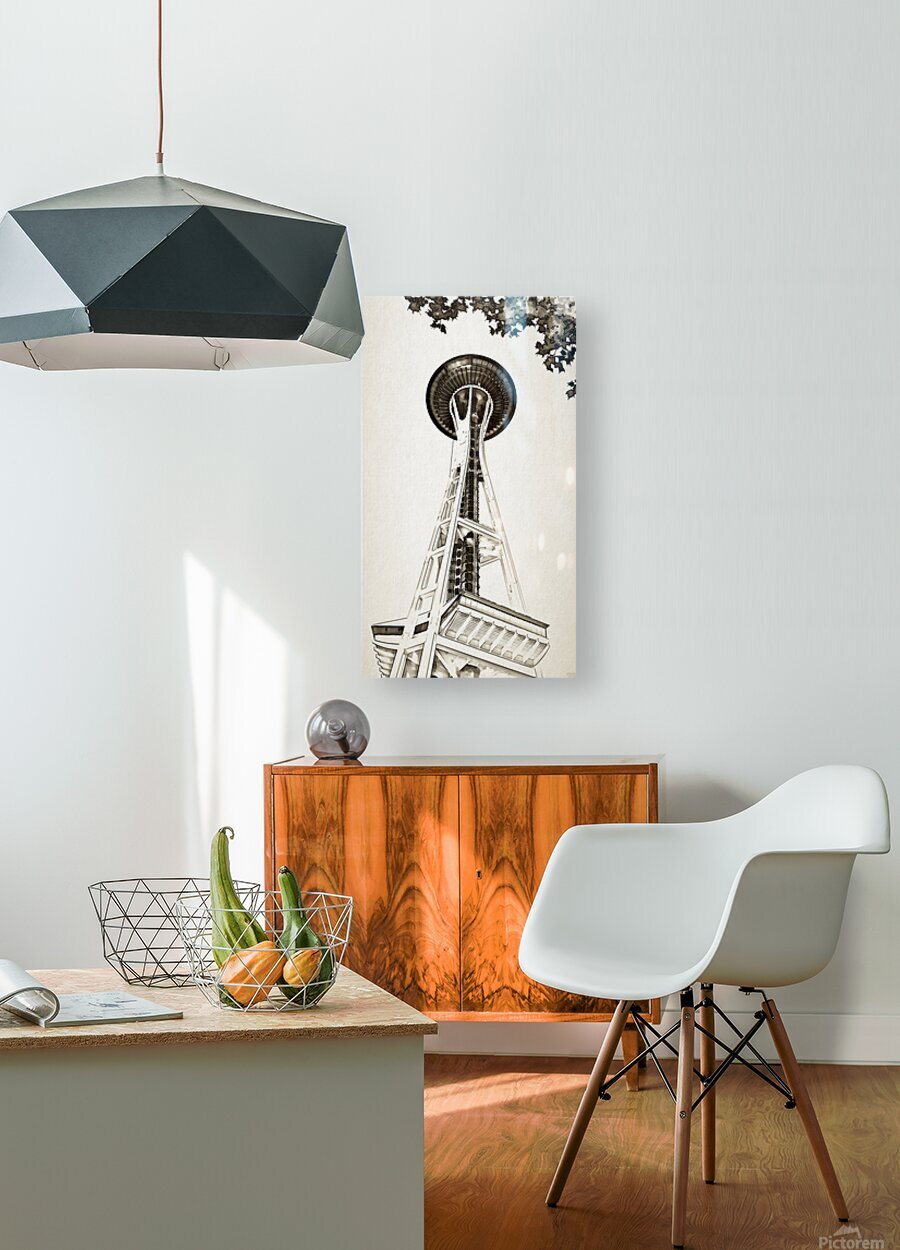 black white seattle space needle art  HD Metal print with Floating Frame on Back