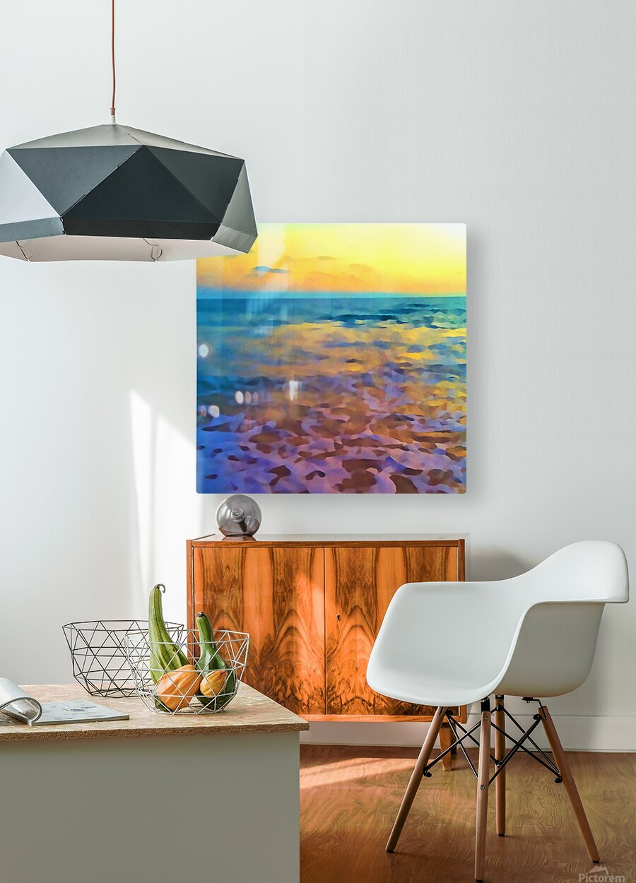 Yellow Sky at Manhattan Beach  HD Metal print with Floating Frame on Back