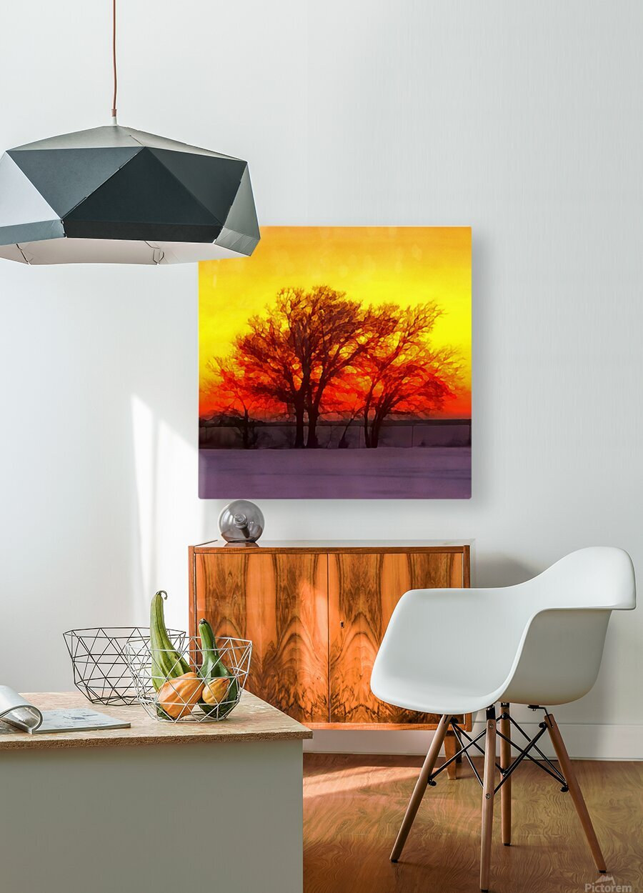 snowy evening  HD Metal print with Floating Frame on Back