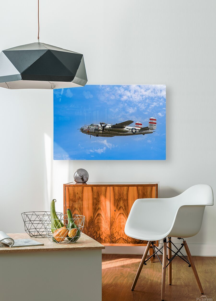Panchito B25 In Flight  HD Metal print with Floating Frame on Back