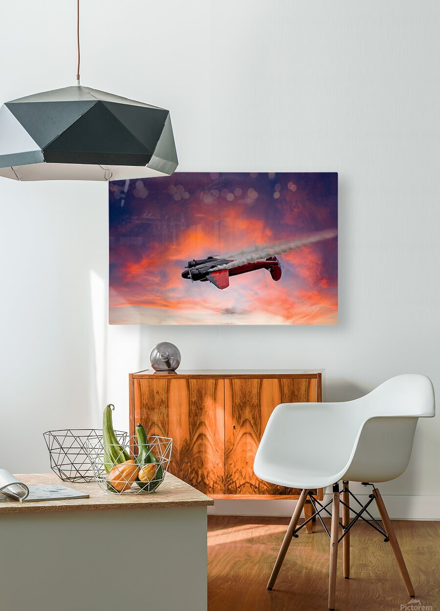 Beech B18 Inverted Flight  HD Metal print with Floating Frame on Back