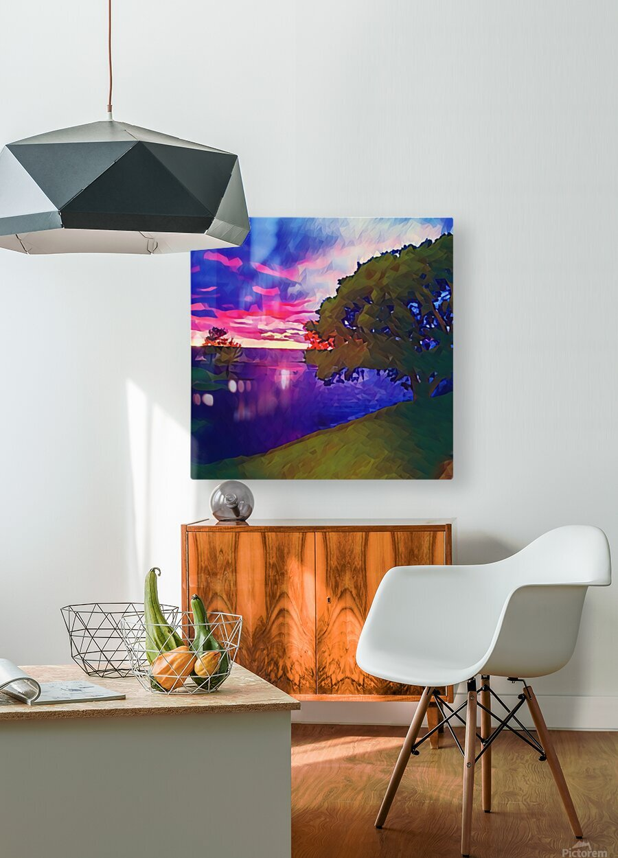 summer evening  HD Metal print with Floating Frame on Back