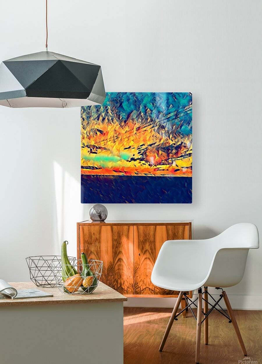 sky wires  HD Metal print with Floating Frame on Back