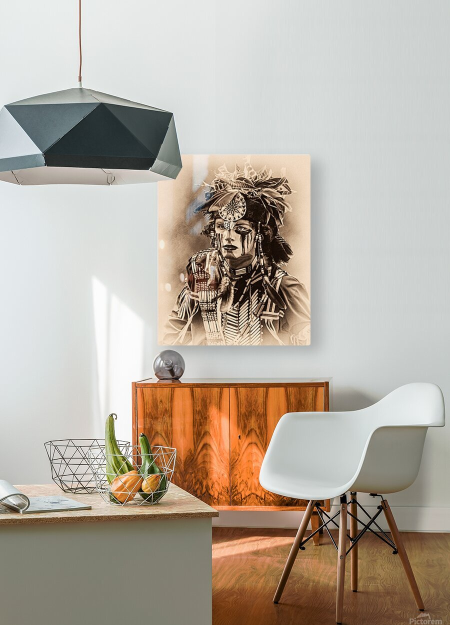 Native American 4  HD Metal print with Floating Frame on Back