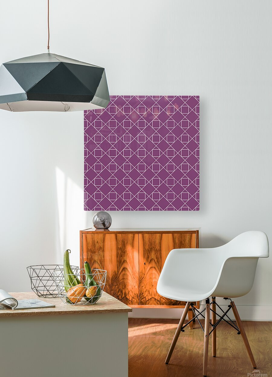 Light Purple Squares And Diamonds Pattern  HD Metal print with Floating Frame on Back