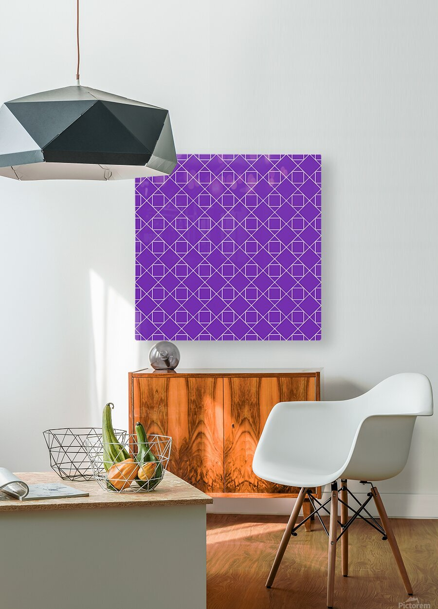 Purple Squares And Diamonds Pattern  HD Metal print with Floating Frame on Back