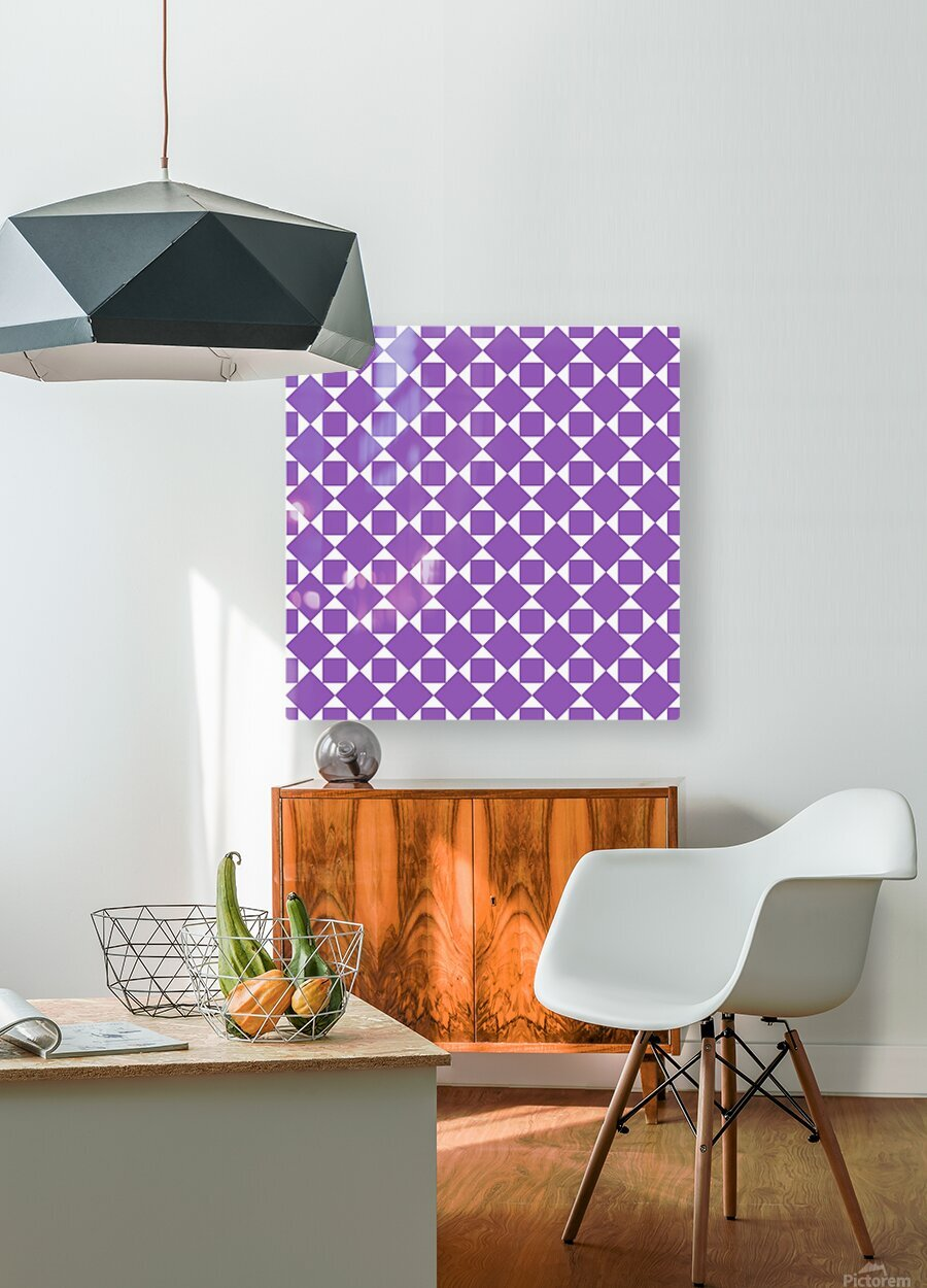 Purple Geometric Pattern  HD Metal print with Floating Frame on Back