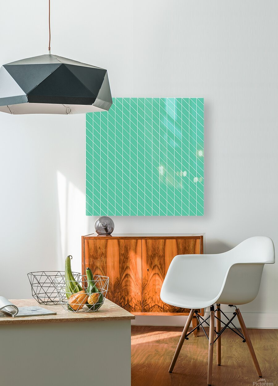 Aquamarine Checkers Pattern  HD Metal print with Floating Frame on Back