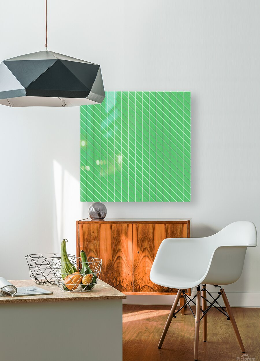 Green Color Checkers Pattern  HD Metal print with Floating Frame on Back
