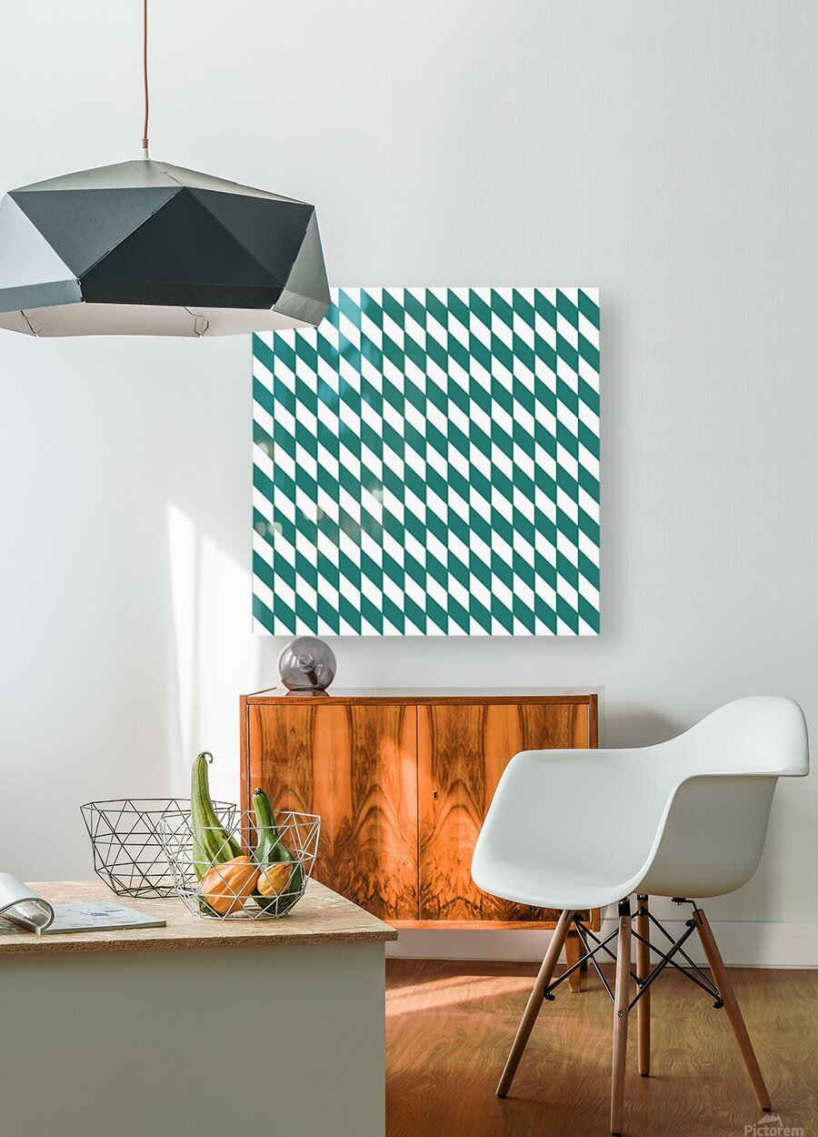 Dark Green Checkers Pattern  HD Metal print with Floating Frame on Back