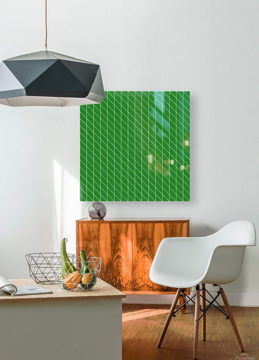 Green Checkers Pattern  HD Metal print with Floating Frame on Back
