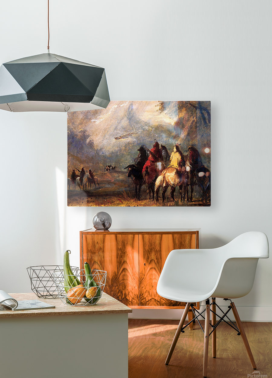 Caravan Passing a Mountain Gorge in a Storm  HD Metal print with Floating Frame on Back