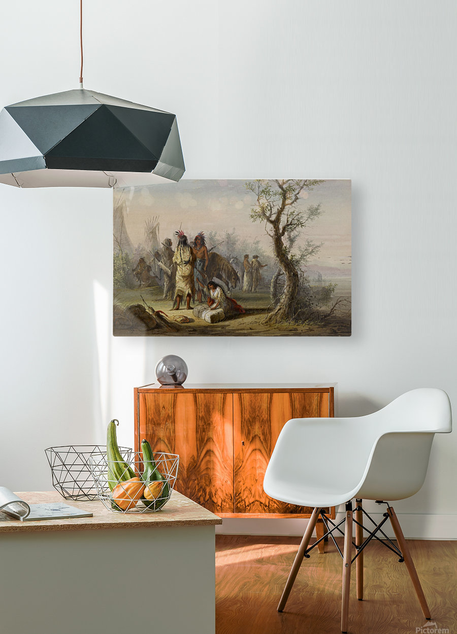 An Indian Camp  HD Metal print with Floating Frame on Back