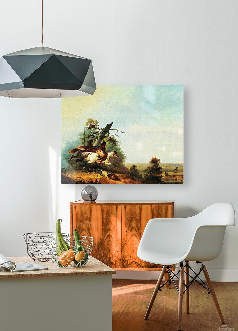 Elk Swimming the Platte  HD Metal print with Floating Frame on Back