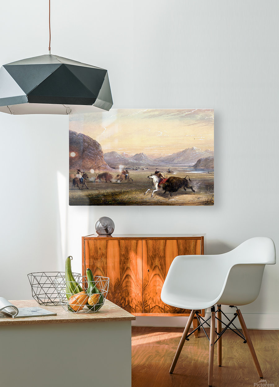 Buffalo Hunting, near Independence Rock  HD Metal print with Floating Frame on Back