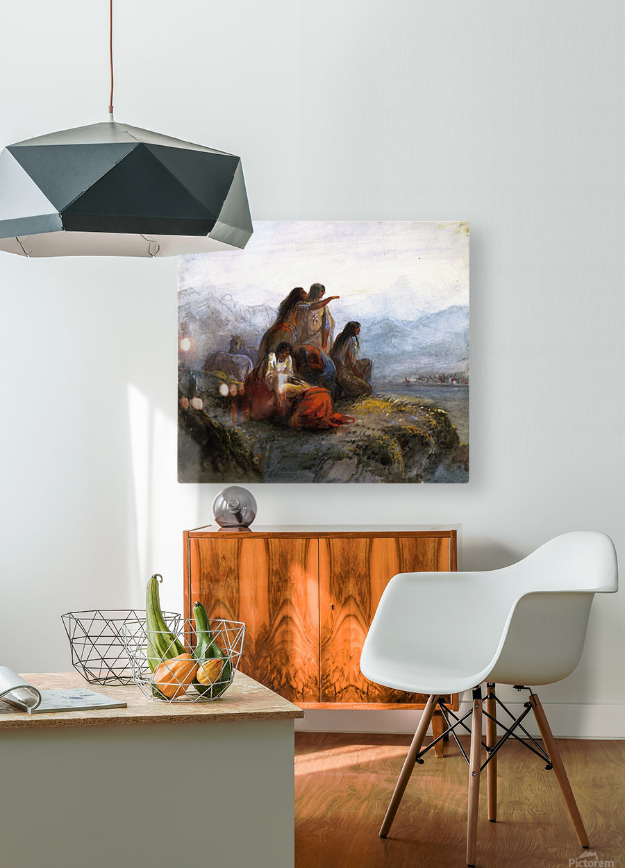 Indian women watching a battle  HD Metal print with Floating Frame on Back