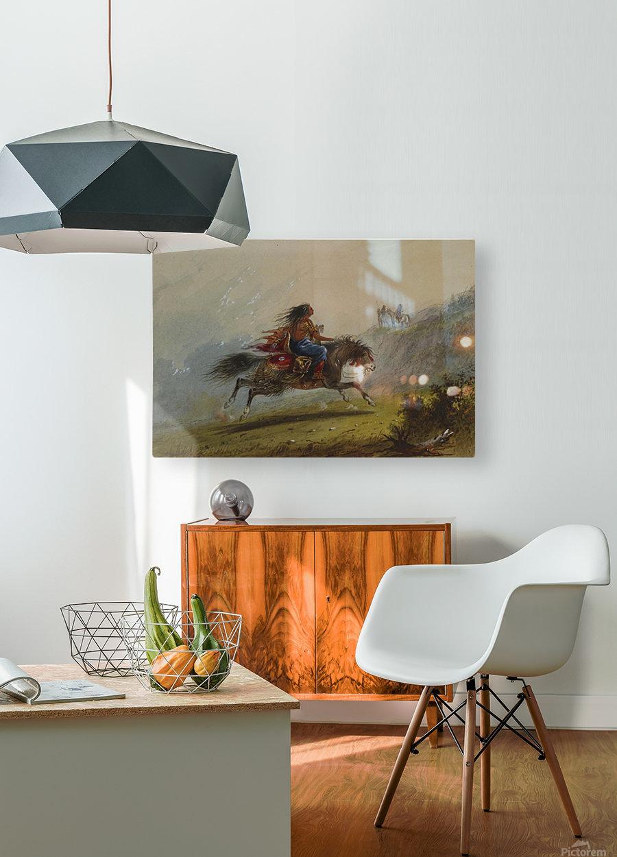 An Indian girl on horseback  Impression métal HD avec cadre flottant sur le dos