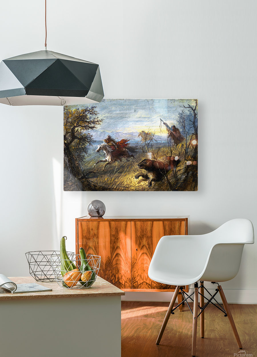 Grizzly Bear Hunt  HD Metal print with Floating Frame on Back