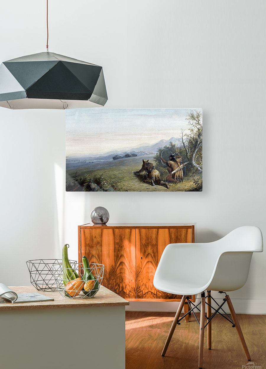 Indian hunters  HD Metal print with Floating Frame on Back