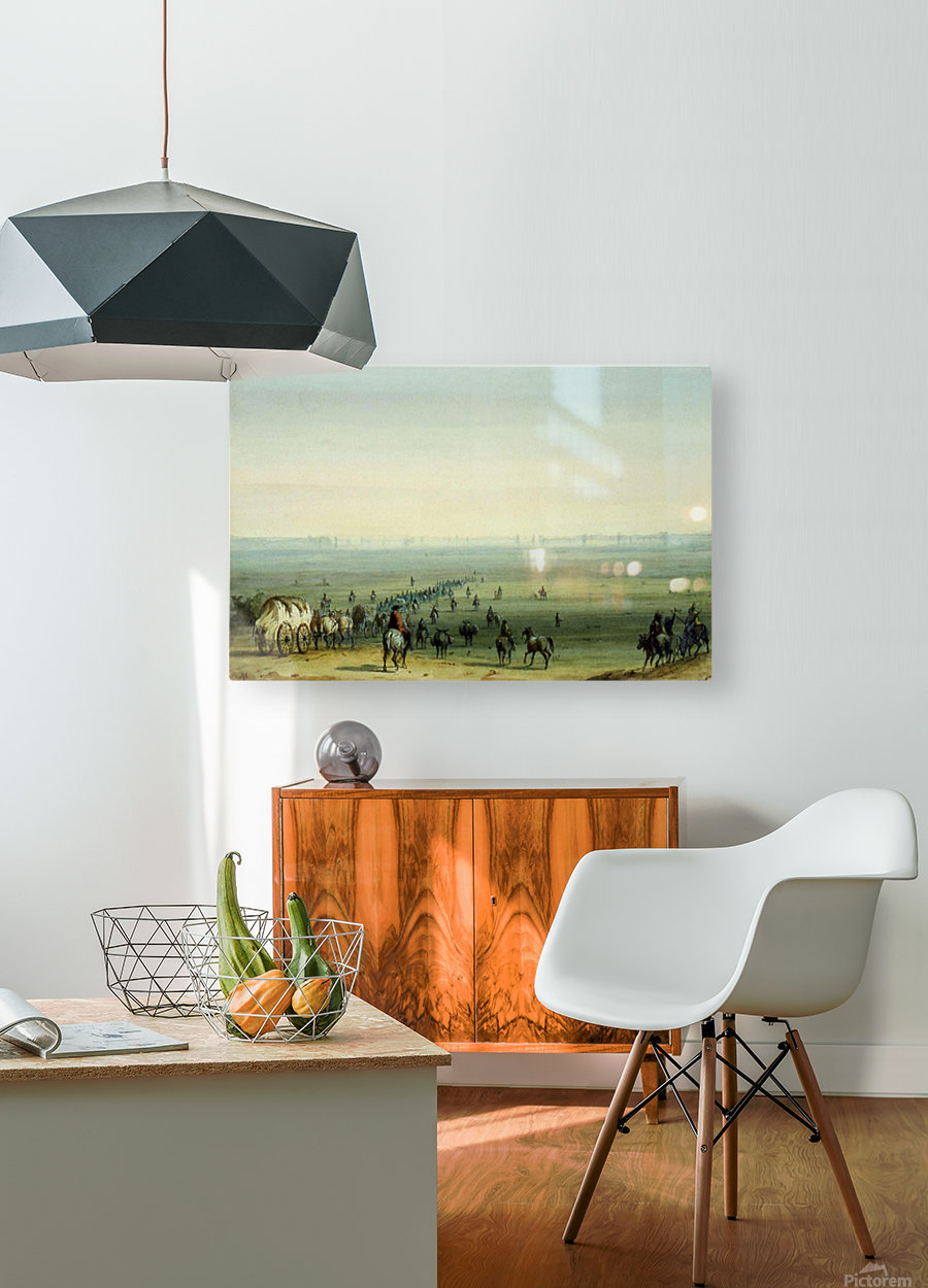 Breaking up camp at sunrise  HD Metal print with Floating Frame on Back