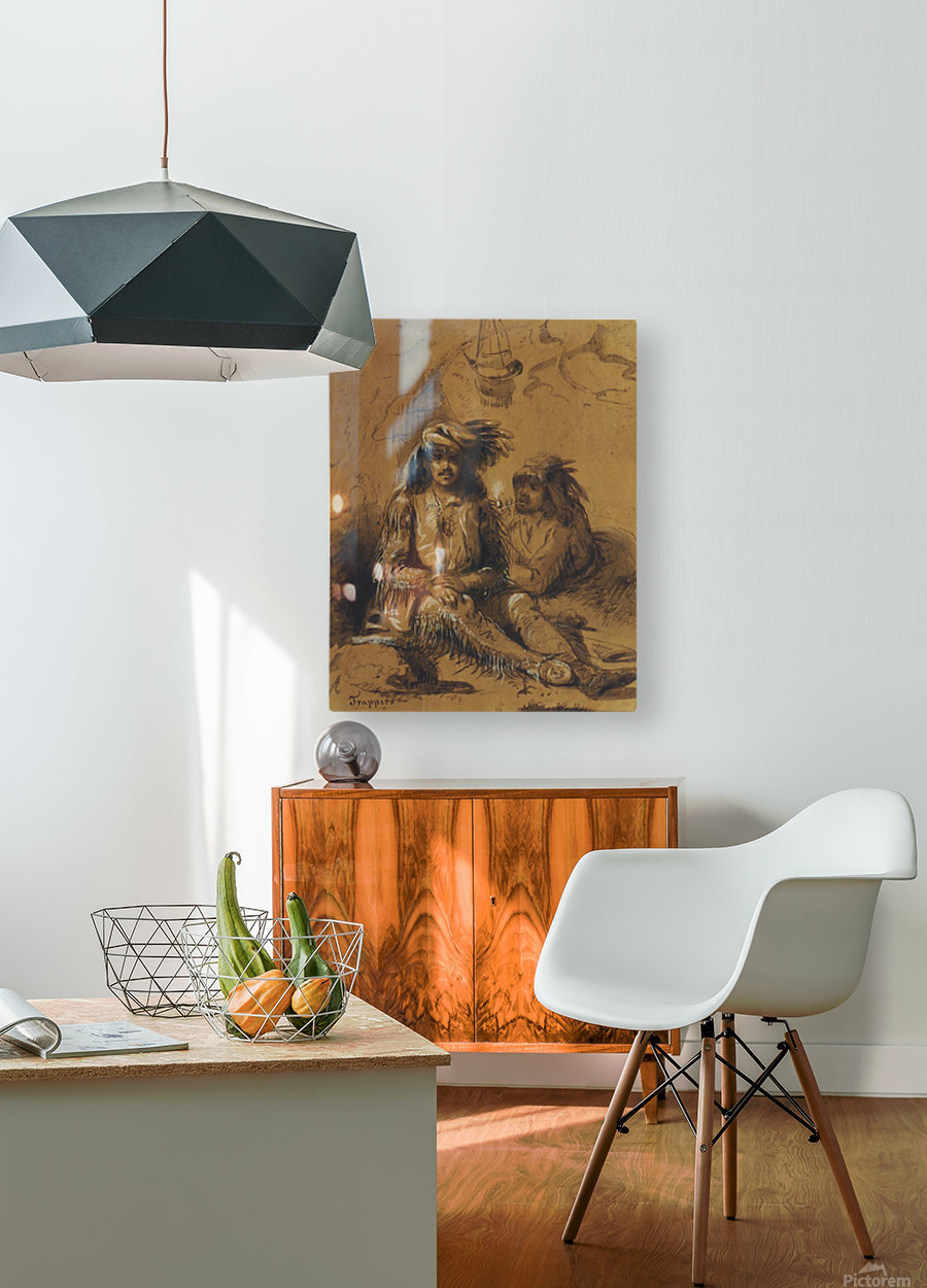 Trappers, Auguste and Louis  HD Metal print with Floating Frame on Back
