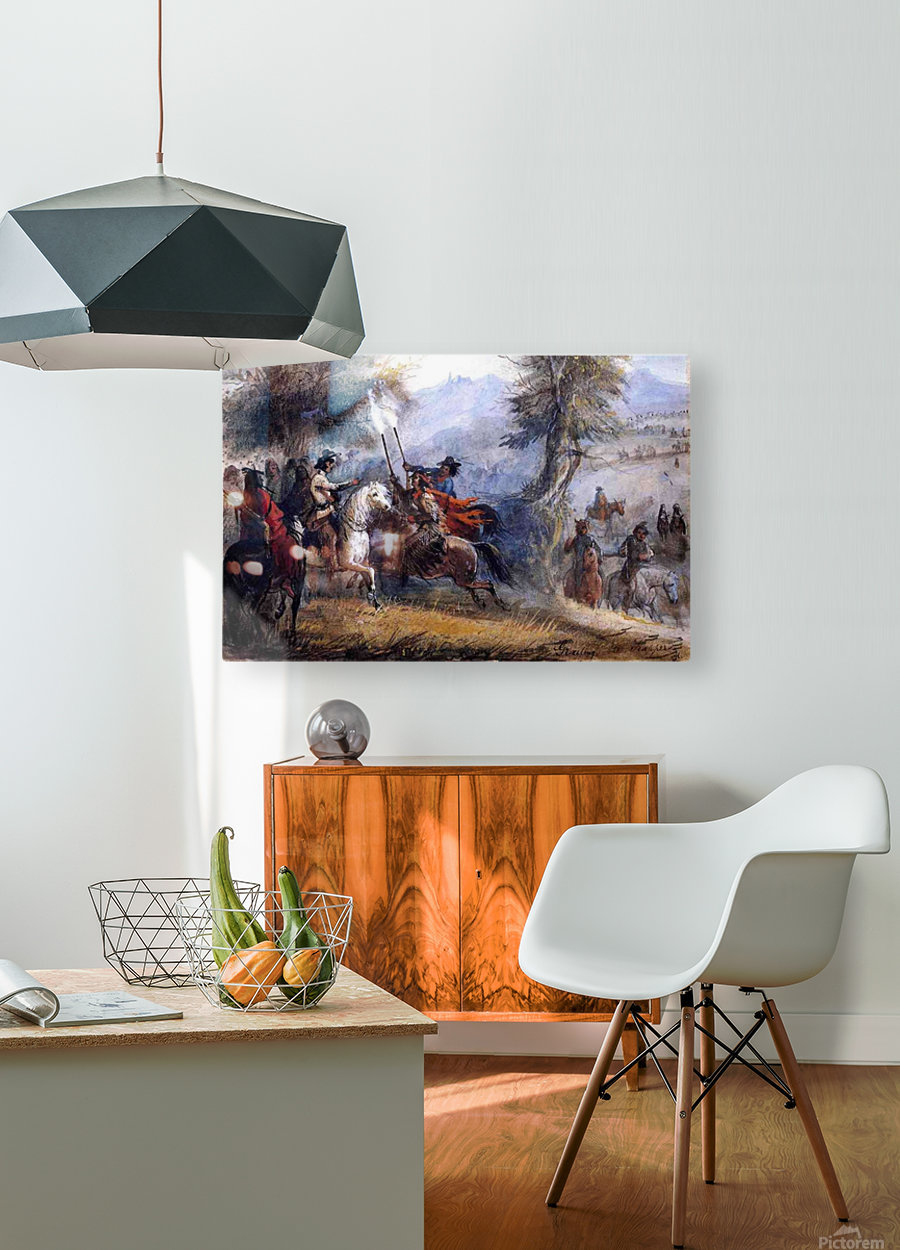 Greeting the trappers  HD Metal print with Floating Frame on Back