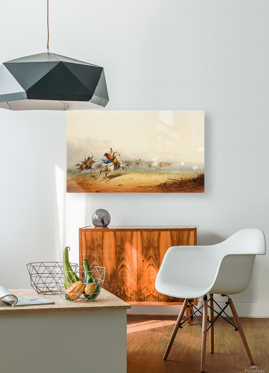 Lassoing Horses  HD Metal print with Floating Frame on Back