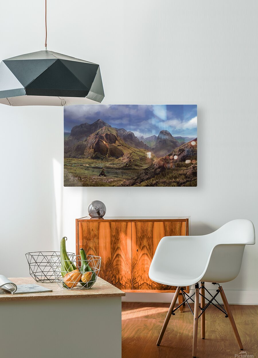Landscape with giant skull  HD Metal print with Floating Frame on Back
