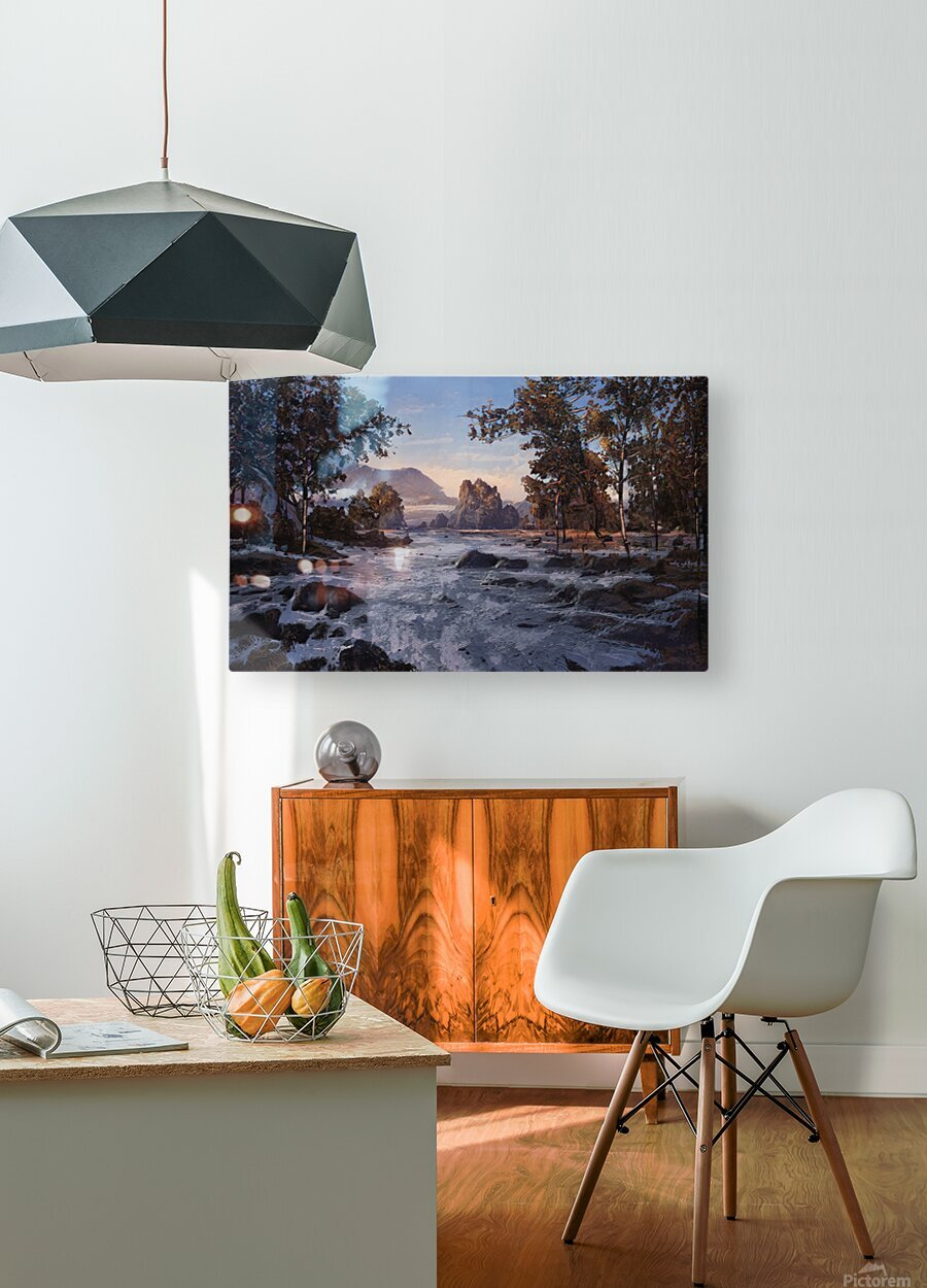 River rolling over stones  HD Metal print with Floating Frame on Back