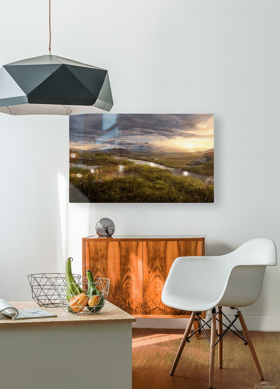 Landscape with river 1  HD Metal print with Floating Frame on Back