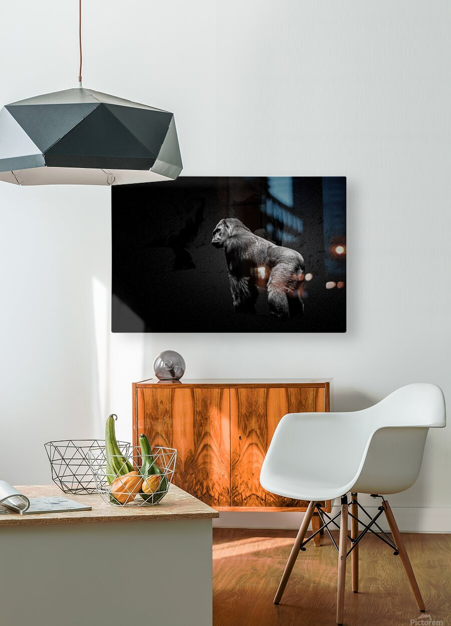 Silverback Gorilla Edit Edit  HD Metal print with Floating Frame on Back