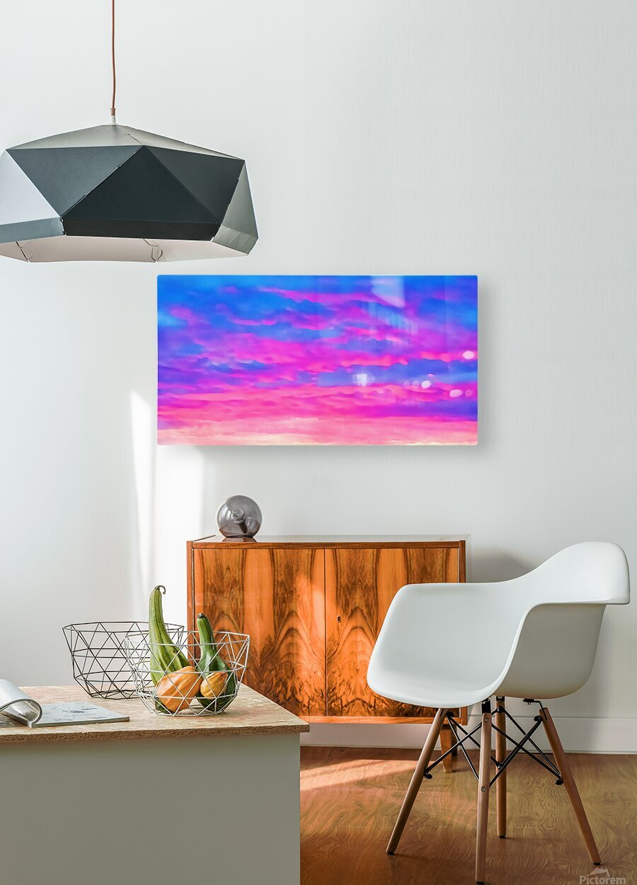pink waves  HD Metal print with Floating Frame on Back
