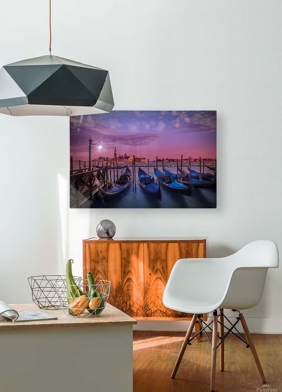 VENICE Gondolas at Sunset  HD Metal print with Floating Frame on Back
