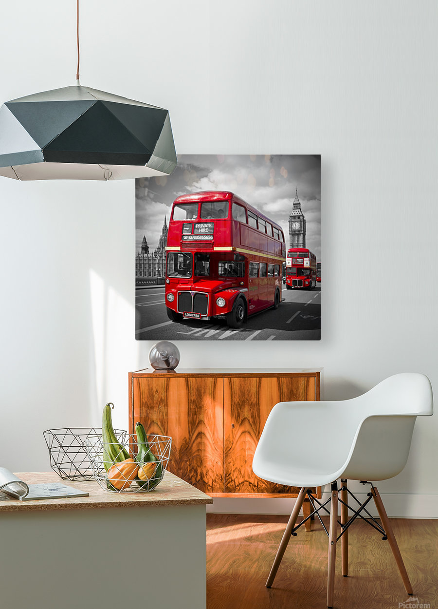 LONDON Red Buses on Westminster Bridge  HD Metal print with Floating Frame on Back