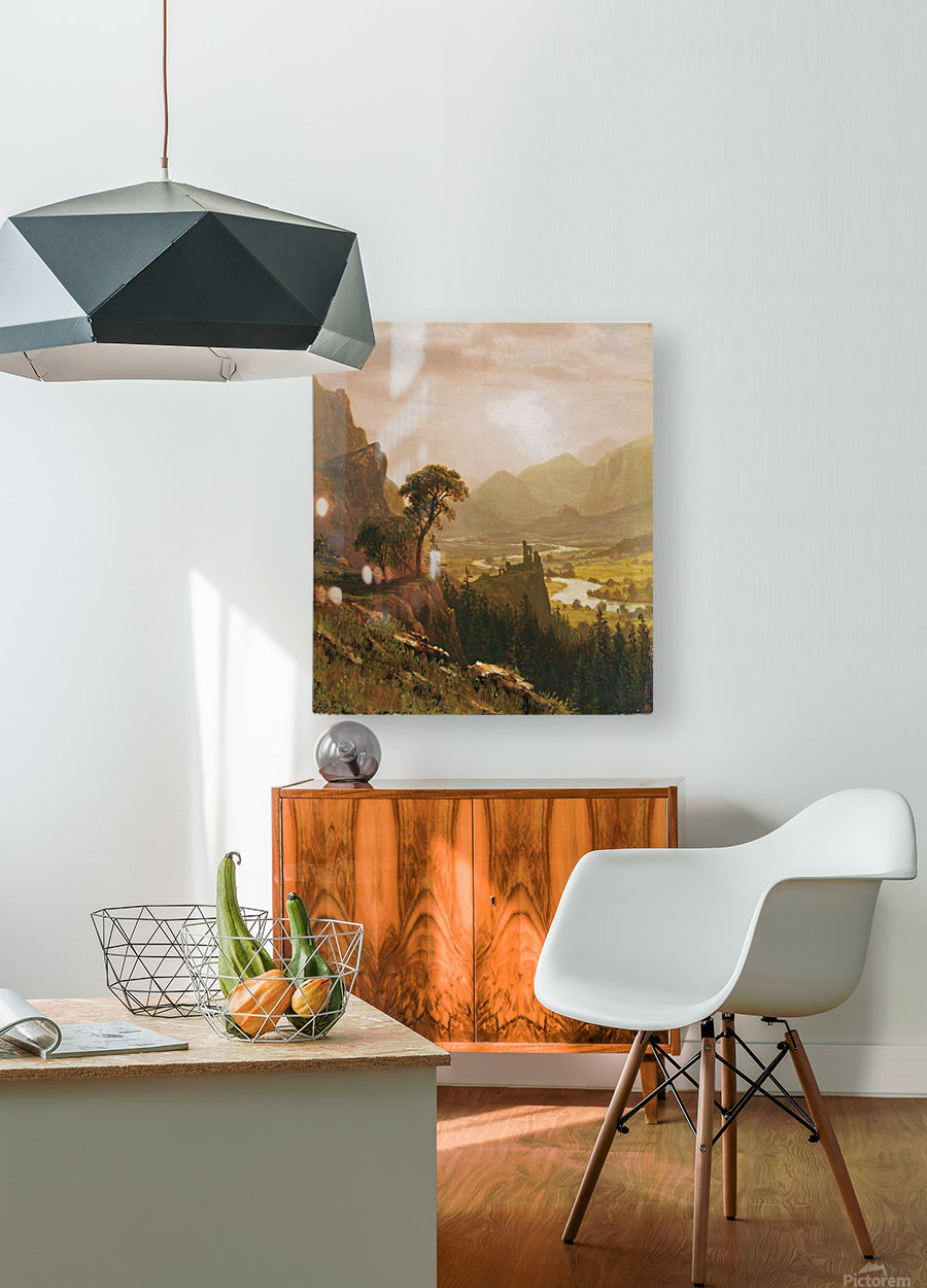 Sunset in the Mountains, 1859  HD Metal print with Floating Frame on Back