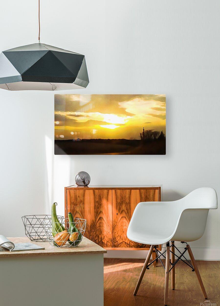 golden evening  HD Metal print with Floating Frame on Back