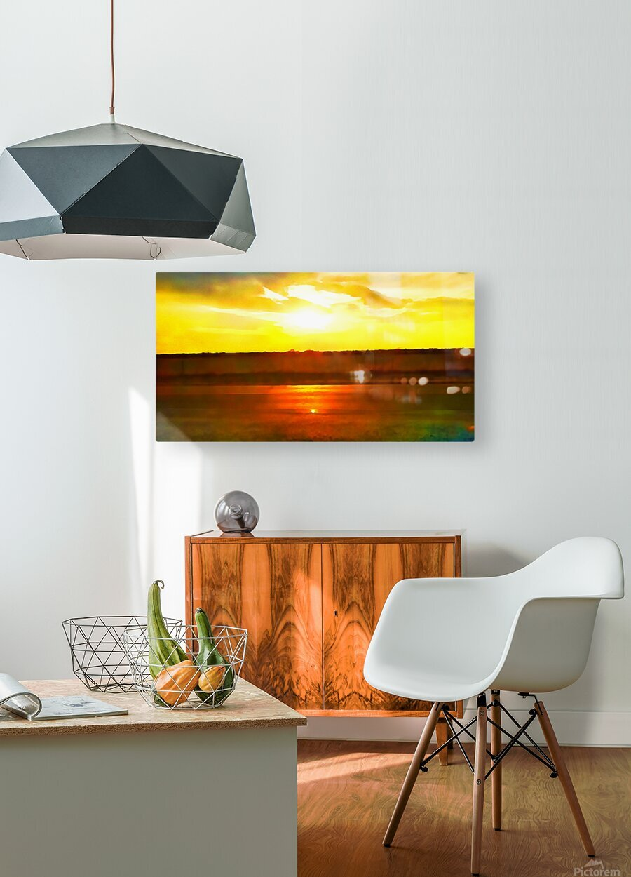 orange yellow  HD Metal print with Floating Frame on Back