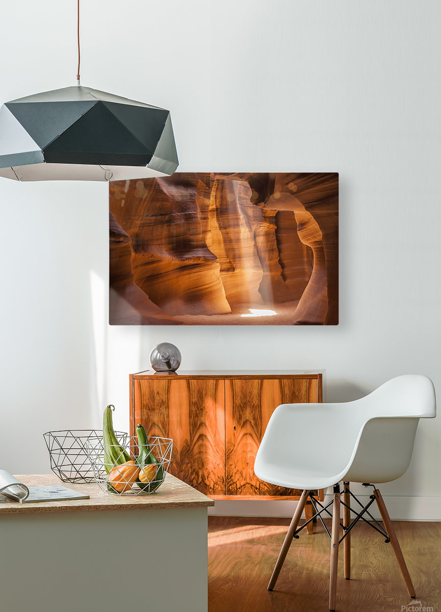 ANTELOPE CANYON Gorgeous Light Beam  HD Metal print with Floating Frame on Back