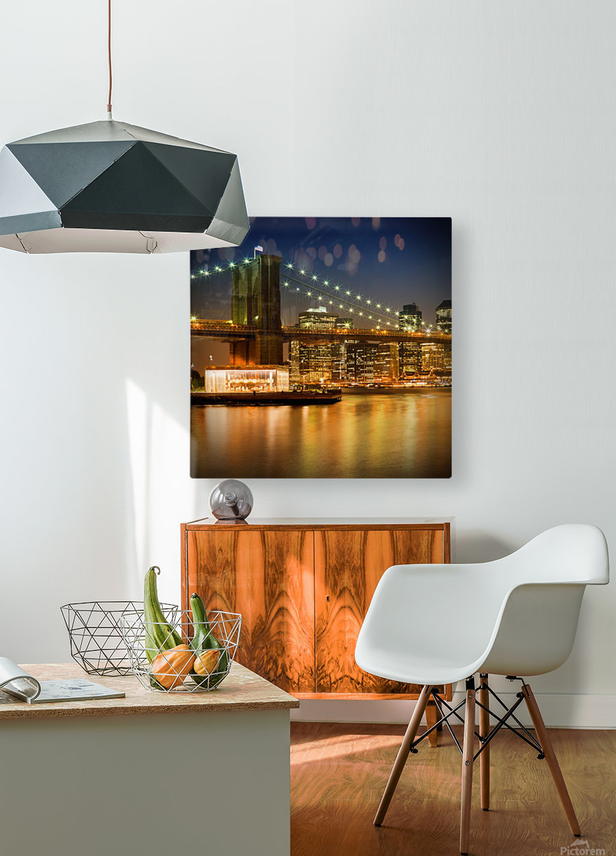 Night-Skylines NEW YORK CITY  HD Metal print with Floating Frame on Back