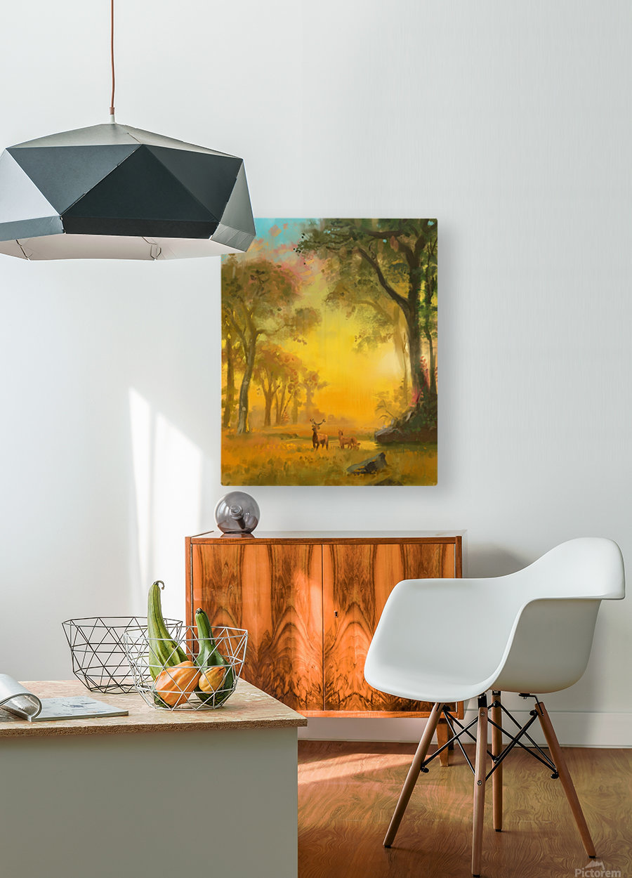 Light In The Forest  HD Metal print with Floating Frame on Back