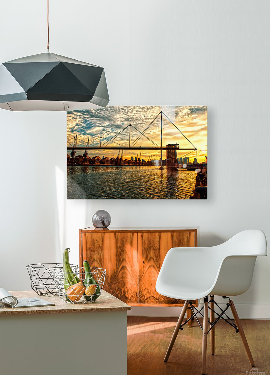 Amazing Sunset over river  HD Metal print with Floating Frame on Back