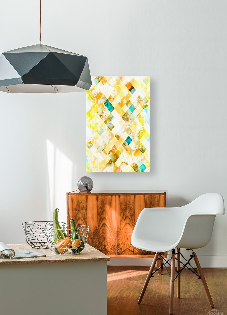 geometric pixel square pattern abstract in yellow brown blue  HD Metal print with Floating Frame on Back