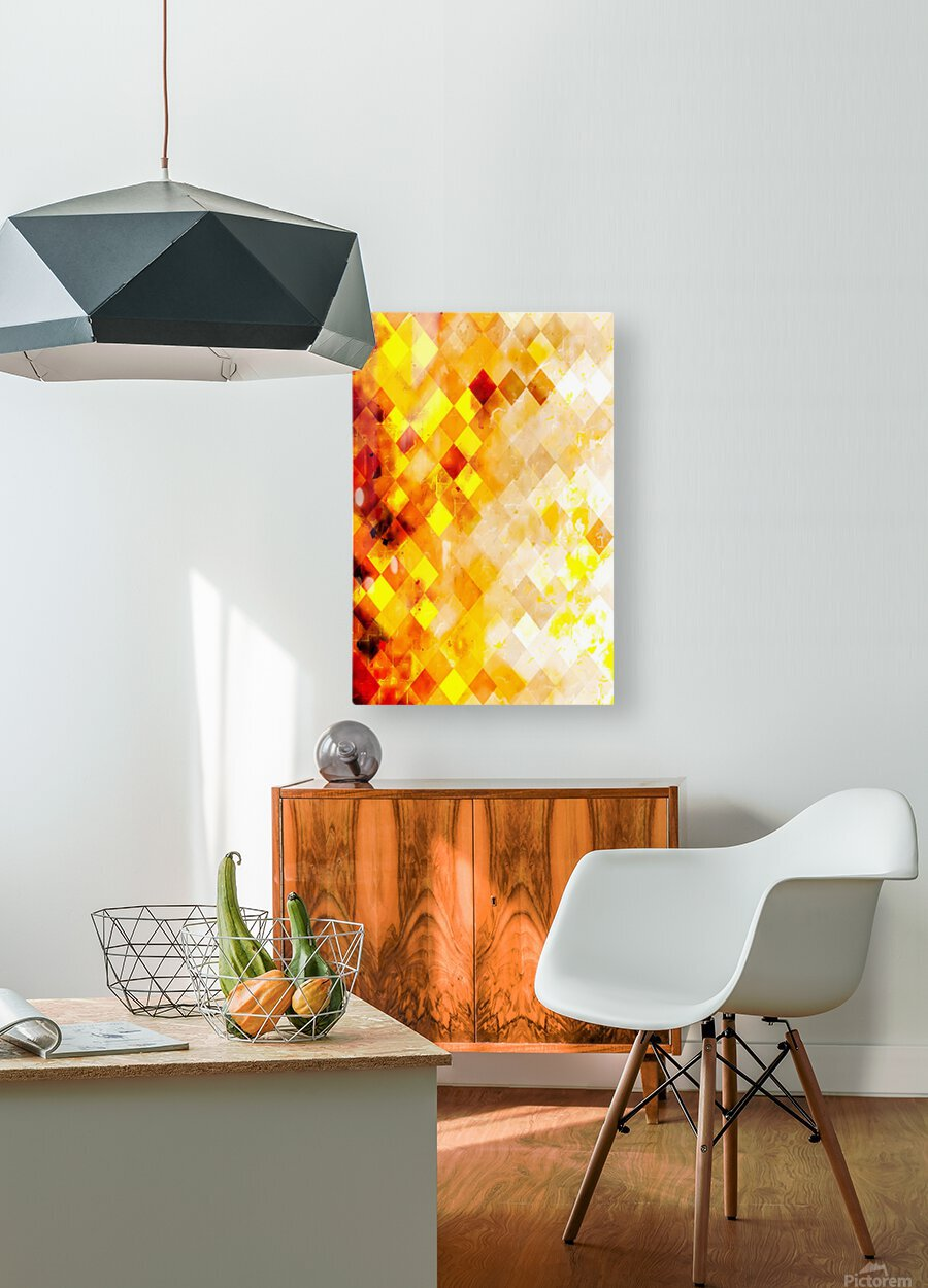 geometric pixel square pattern abstract in brown and yellow  HD Metal print with Floating Frame on Back