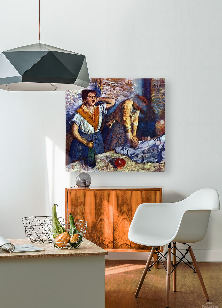 Two cleaning women by Degas  HD Metal print with Floating Frame on Back