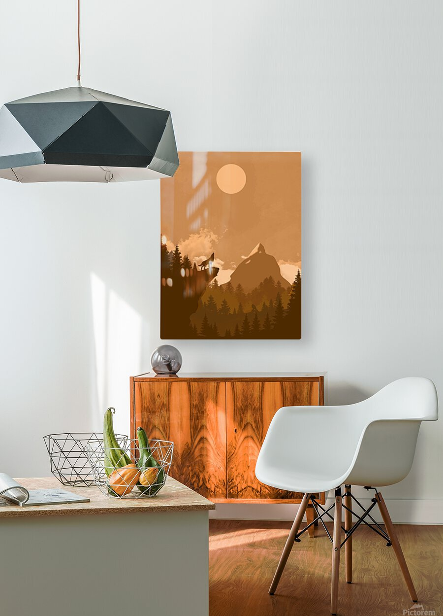 Mountain Wolf Day  HD Metal print with Floating Frame on Back
