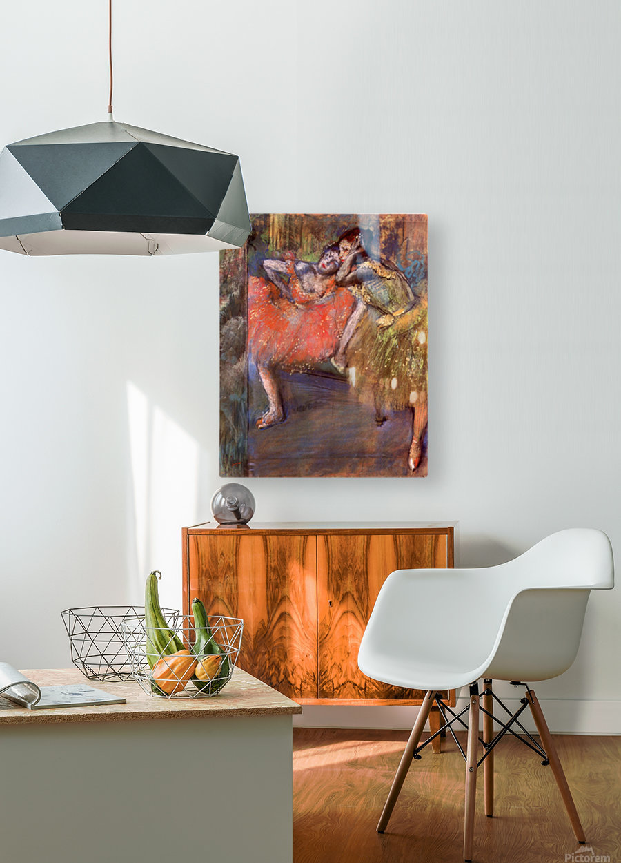 Two dancers behind the scenes by Degas  HD Metal print with Floating Frame on Back