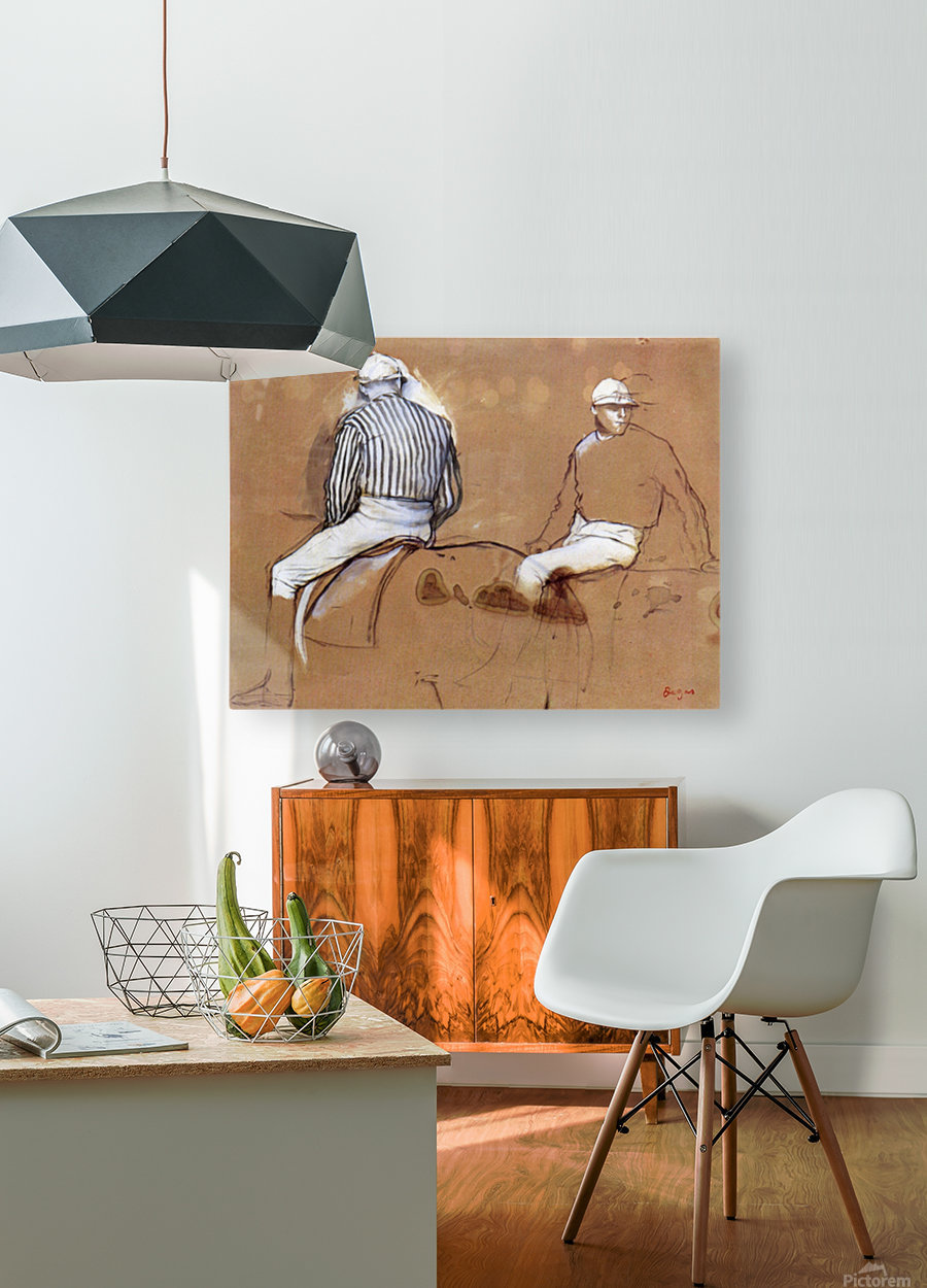 Two jockeys by Degas  HD Metal print with Floating Frame on Back